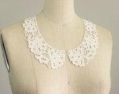 IVORY Venise Floral Peter Pan Lace Collar / Neckline / Two Piece Lace Collar / Vintage Style