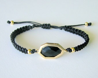 Black & Gold Macrame Bracelet with Black Faceted Connector and Gold Beads