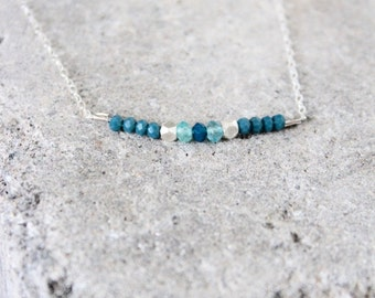 Teal Blue Chalcedony, Blue Apatite Gemstones, Sterling Silver Nugget Beaded Pendant Bar on Adjustable Sterling Silver Chain