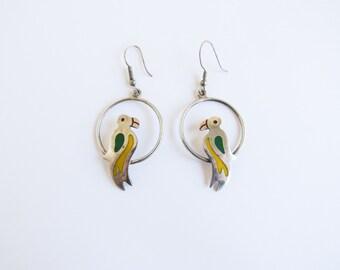 Parrot in Hoops Vintage Silver Alpaca Earrings From Mexico