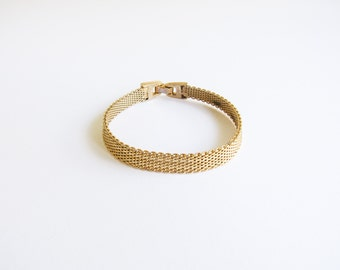 Gold Mesh Vintage Modernist Simple Bracelet