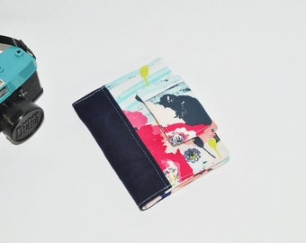 SAMPLE SALE Passport Wallet - Floral Print Passport Holder - Poppy Mini Journal Cover - Family Travel Wallet - Gift for Her