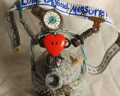 Love Beyond Measure Pin Cushion Art, sewing and handmade inspired sculpture OOAK