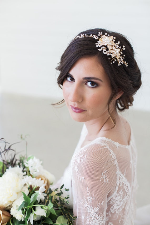 Bijoux Pour Cheveux Vintage : Rose gold and crystal bridal headpiece wedding hair