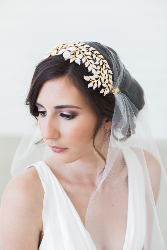 Gold Grecian Headpiece, Laurel Leaves Tiara, Bridal Cap, White Leaves Head Piece, Juliet Cap veil, Art Deco Headpiece, Juliet Veil