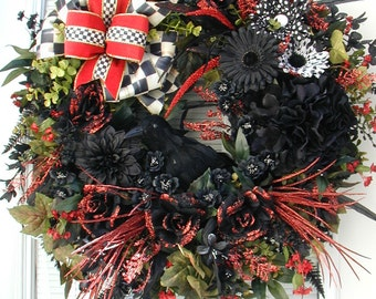 Large Elegant Halloween Wreath Crow Raven Red Black Floral Decor Front Door Wreath Wall Hanging Grapevine Fireplace Decoration Luxe Ribbon
