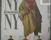 McCall NY NY Collection 90s 1990s 5610 Raincoat Coat Tie Belt Scarf Sewing Pattern Size 18-20 Bust 40-42 Plus Size