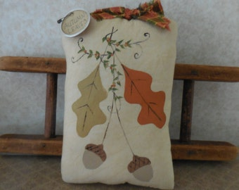 Primitive Autumn Leaves & Acorns Wallhanging Pillow Tuck Fall Leaves Country Decor