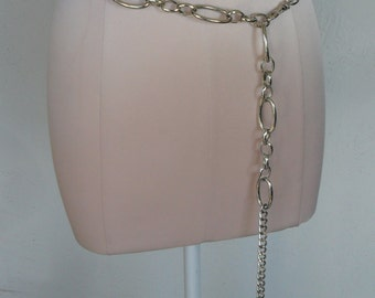Vintage Chain Belt Metal Silver-Toned