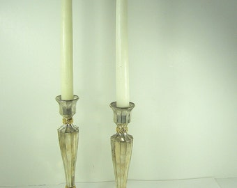 Vintage SILVERPLATE CANDLEHOLDER Set/2 WEDDING Taper Candle Stick International Silver