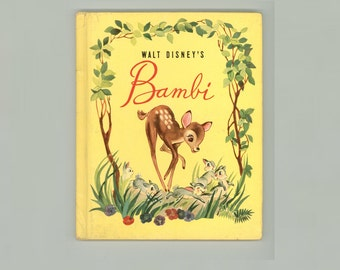 Walt Disney's Bambi, Based on the Animated Film, 1942 Grosset & Dunlap Hardcover Edition, First Grosset Printing, Vintage Children's Book
