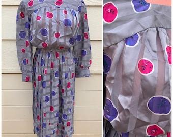 Abstract spot grey 80s secretary dress size medium