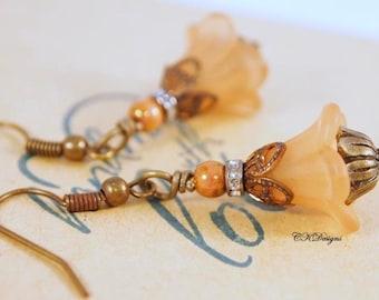 SALE Taupe Lucite Flower Earrings, Flower Earrings, Lucite Dangle Wedding Pierced or Clip-on Earrings. OOAK Handmade Earrings. CKDesigns.us
