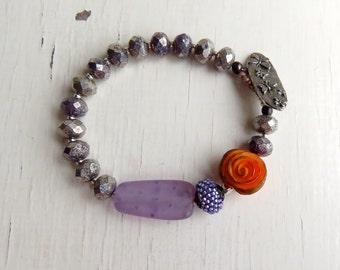 Shout - handmade bracelet, purple bracelet, bead bracelet, orange bracelet, rose jewellery, retro jewellery, songbead, uk