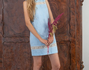Linen Short Sleeveless Dress/ Linen Tunic Tunic Laced - Antiq Laces/ Linen Tank