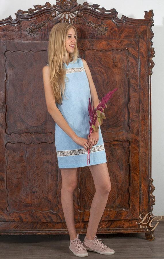 Linen Short Sleeveless Dress/ Linen Tunic Tunic Laced - Antiq Laces/ Linen Tank
