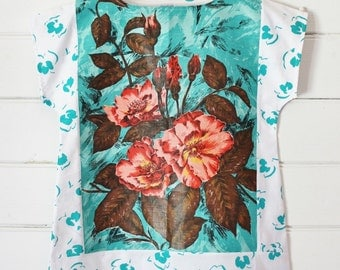 Upcycled Linen Tea Towel Tunic Women 80's White Teal Retro Floral  Medium Cotton Australian Made