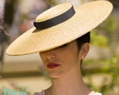 The Summer Vogue Hat - Boater w/ Dark Navy Ribbon - Wedding Hat - Formal - Hat for Ascot