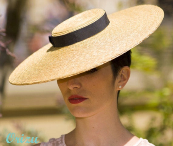 Summer 'Vogue' Couture Boater w/ Dark Navy Ribbon & Wide Brim - Hat For Wedding