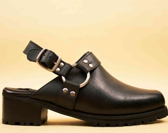 90s Vtg Deadstock Black Genuine Leather HARNESS Clog Mule / Platform Chunky Heel Biker Motorcycle Boot 10 Euro 41 42