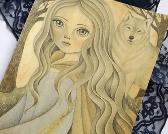 Fantasy Art Inspired by Japanese Anime The Wolf Children, Original Mixed Media Painting on Paper, Yuki Ame Illustration for Anime Fans