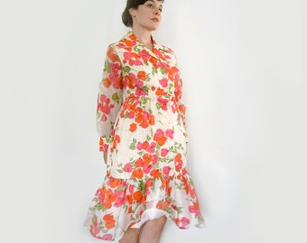 Vintage Alfred Sheehan Bougainvillea Dress . Bright Floral Print . Size Medium