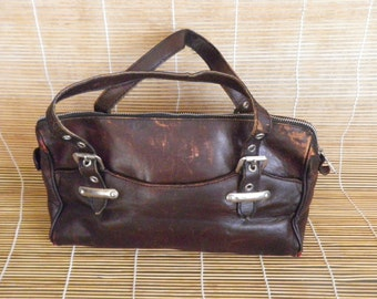 Vintage Lady's Aged Dark Brown Leather Hand Bag Zip Up Top Purse