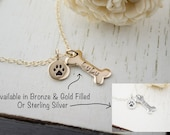 Dog Lover Jewelry | Silver or Gold Dog Bone Necklace | Pet Name Memorial Necklace | Personalized