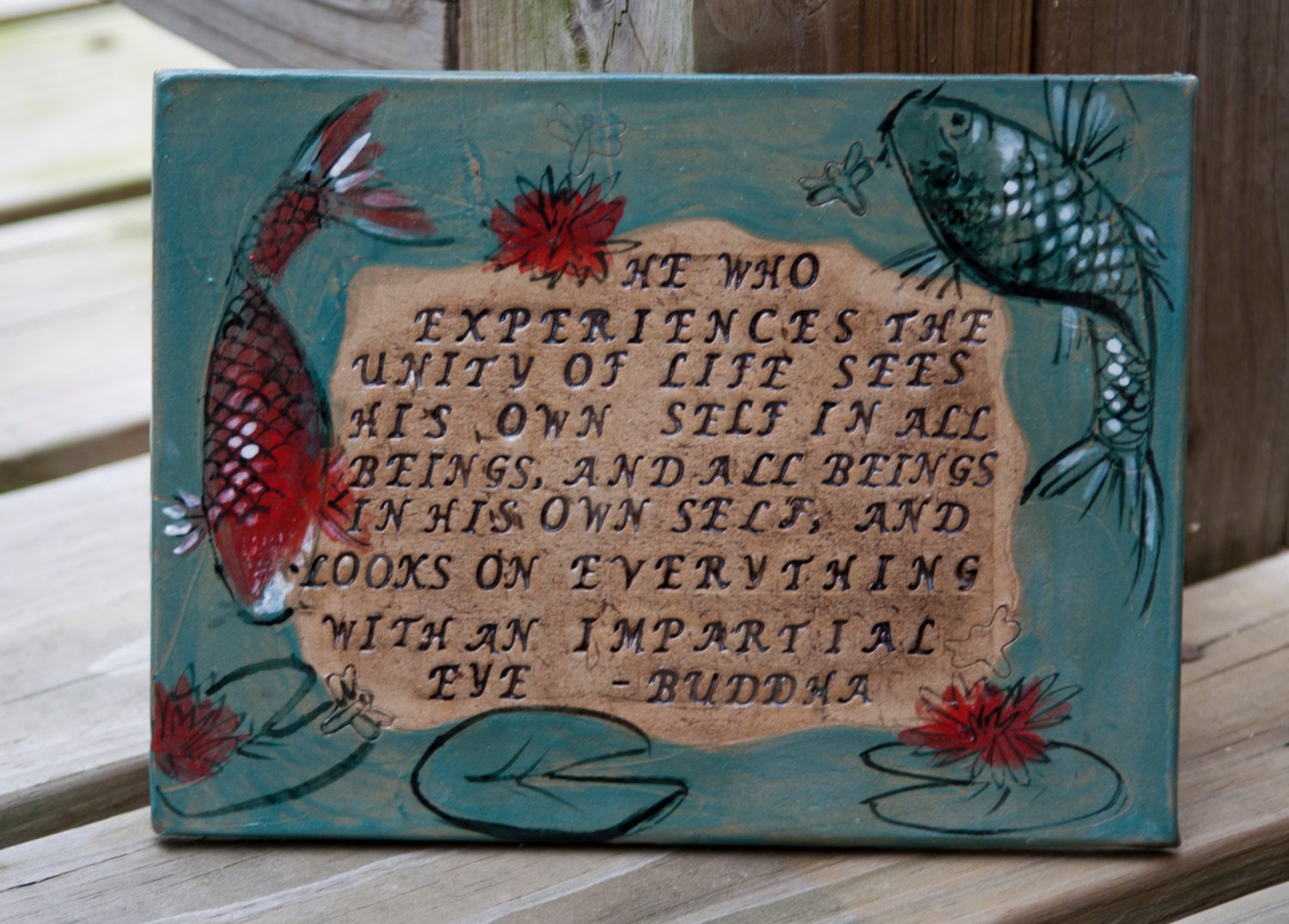 Buddha quote tile inspirational tile ceramic tile koi fish for Koi fish quotes