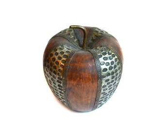 Apple Paperweight Apple Figurine Wood Apple Carved Wooden Apple Decorative Wood Apple Industrial Apple Wood Apfel