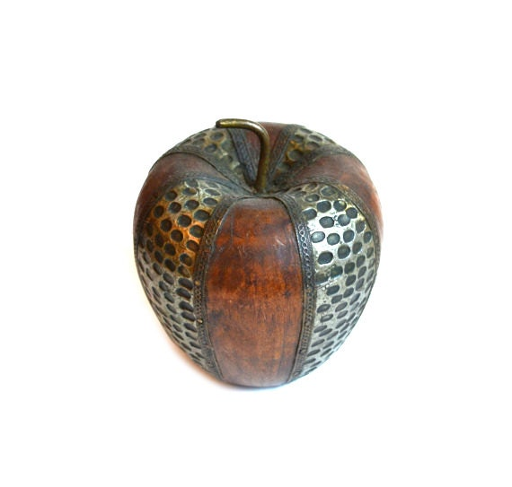 Apple paperweight figurine wood carved wooden