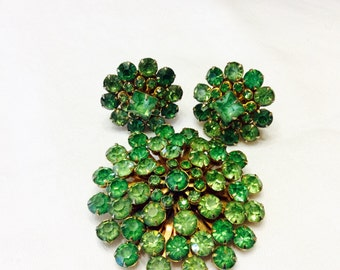 Vintage Green Rhinestone Brooch and Clip Earrings Set 1950's