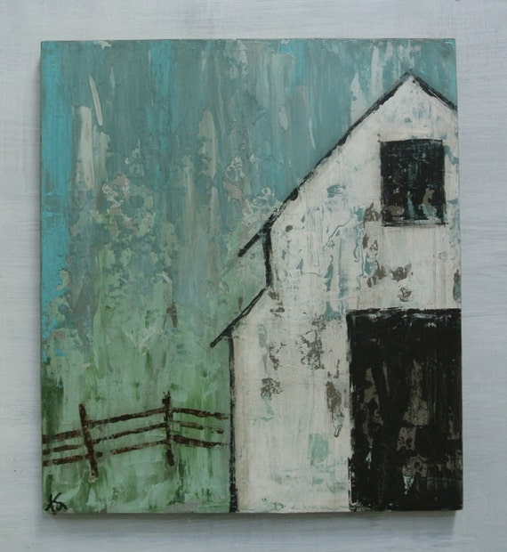 White Barn Original Painting On Wood Titled Easy Like