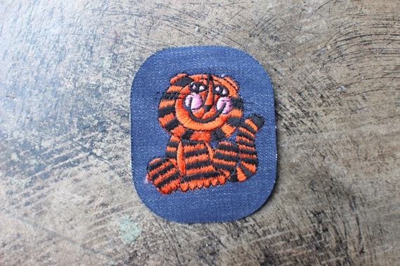 Tiger Patch / Vintage Dead Stock Denim Embroidered Patch / Iron On Patch