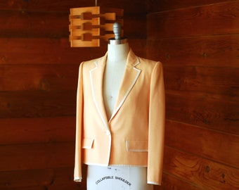 vintage Oscar de la Renta peach and white wool jacket / size medium