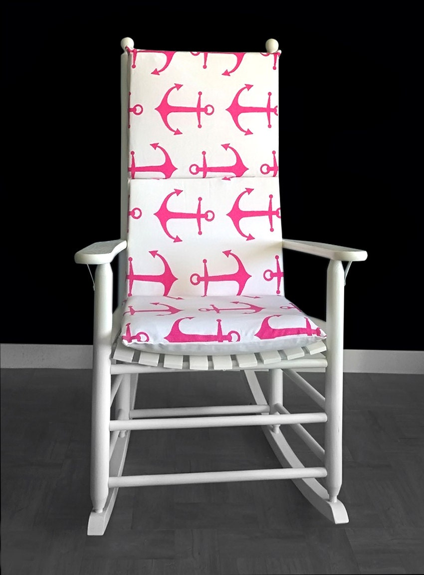 Pink Anchors Rocking Chair Cover Nautical Theme Seat Covers