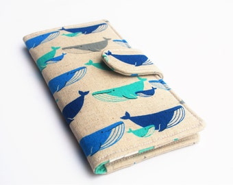 Whale Wallet, Vegan Wallet, Womens Clutch, Linen Blend Cotton Wallet