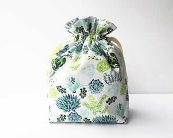 Drawstring Bag , Project Bag, Home Storage, Travel Bag, Fully Lined, Succulents