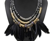 Black Feather Native Tribal African Navajo Ethnic Beaded Ring Festival 3 strand chunky Necklace. UK seller