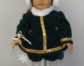 Green Velvet Ice Skating Outfit - fits American Girl Dolls and other 18 inch dolls