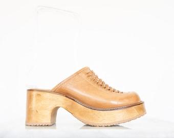90s Tan Leather Platform Wood Sole Clogs / Women's Size 8 US - 38/39 Eur - 6 UK