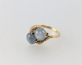 Double Lavender Star Sapphire Engagement Ring 14k Rose Gold