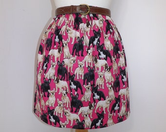 Handmade French bulldog bull dog puppy high waisted skirt pink dogs frenchie