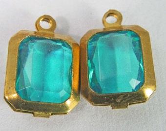 10 Vintage Zircon Blue Octagon Channel Set Lucite Faceted Charms Drops Pendants Pd800