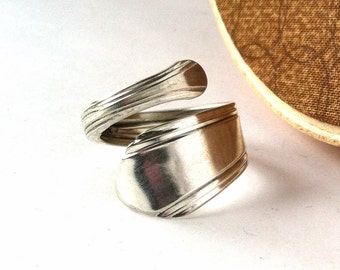 Wrapped Spoon Ring, Size 7, Simple, Eco Friendly Upcycled Ring