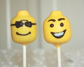 Lego inspired LEGO head Cake Pops