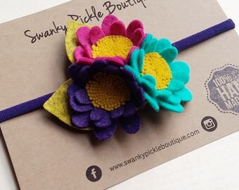 Fall Baby Headband,Purple Gold Magenta Teal,Sunflower Headband,Felt Flower Headband,Nylon Headband,Newborn Toddler Girls,Daisy Headband
