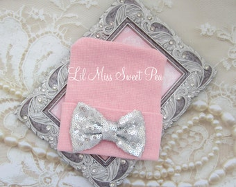 Newborn Hospital Hat, pink with silver sequin bow, take home beanie, beenie, infant, baby hat, Lil Miss Sweet Pea Boutique