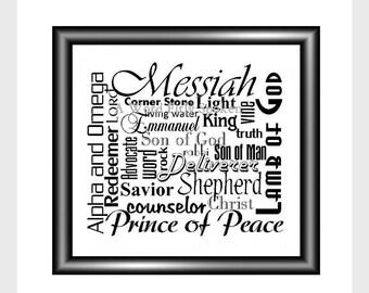 DIGITAL Printable Art Names of Jesus Downloadable Instant Jpeg Word Art, Christian Card Art, Poster Art, Bible Art MV-3002