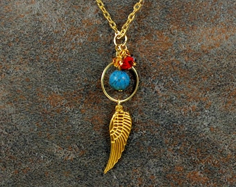 Angel Wing Necklace, Gold, Wing Pendant Necklace, Boho Necklace, Gift for Her, Layering Necklace, Bohemian Necklace, Gemstone Necklace